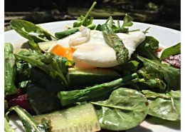 Asparagus-salad-with-a-runny-poached-egg