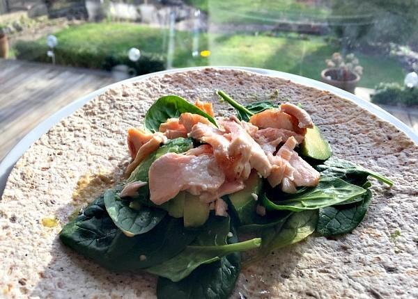 Salmon-avocado-spinach-wrap