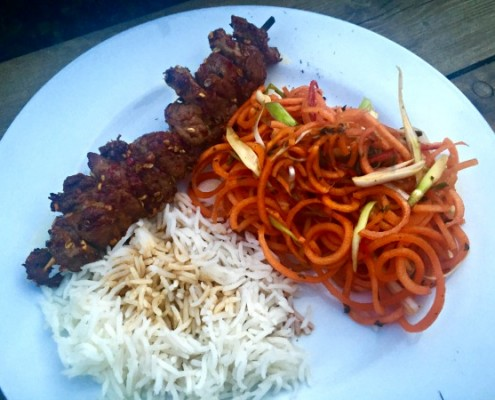 Szechuan-spice-crusted-lamb-skewers-with-carrot-salad