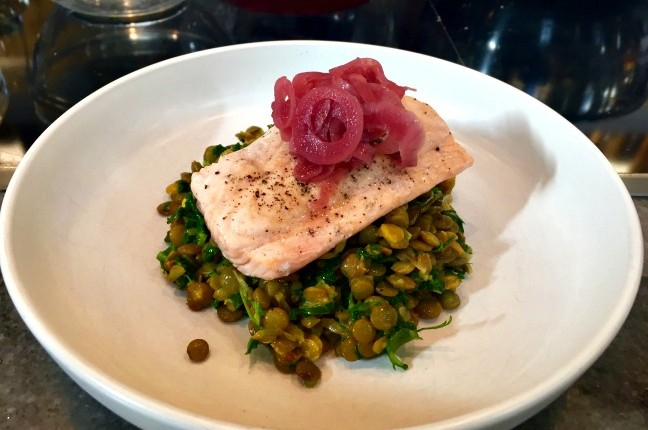 steamed-salmon-with-curried-lentils-kale-pickled-red-onions